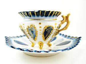Stunning Antique Rare Sea Marine Theme Victorian Blue White China Cup Saucer