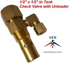 "AIR COMPRESSOR IN TANK CHECK VALVE 1/2"" X 1/2"" FLARE with Unloader"