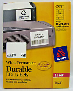 """Avery White Permanent Durable ID Labels 2 x 2 5/8"""" 750 Lables on 50 Sheets 6578"""