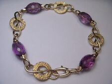 Estate 14K Yellow Gold Fancy Link Faceted Designer Amethyst Bracelet