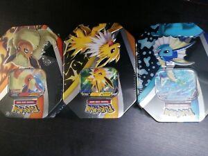Pokemon TCG Eevee Evolutions Tin x3 Vaporeon, Jolteon & Flareon