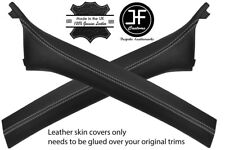 GREY STITCH 2X A PILLAR LEATHER COVERS FOR BMW E46 CONVERTIBLE 98-05 STYLE 2