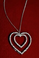 10K WHITE GOLD *PENDANT* DOUBLE HEART*118 DIAMONDS*SUPER SPARKLY WITH CHAIN*WOW