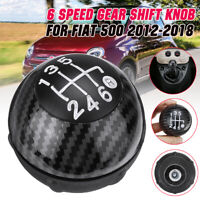6 Speed Gear Shift  Knob Manual Carbon Fiber 55344048 For Fiat 500 2012-2018