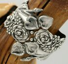 Vtg Mexico Sterling Rose Heart Hand Repousse Clamper Bracelet 72 Grams TAXCO NEW