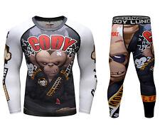 CODY LUNDIN MEAN MONKEY Men BJJ MMA Rash Guard Training Compression Shirt Pants