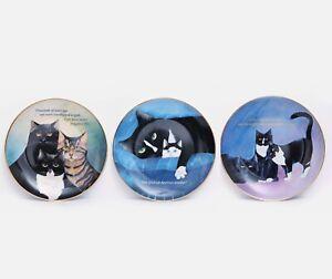 Lot of 3 Danbury Mint Cat Plates One Good Cat Cattitude Nighttime Reservation
