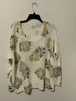 ANTHROPOLOGIE Molly Bracken Metallic Gold  Floral Print Pullover Sweater Sz M/L