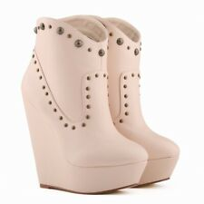 US10 Womens Rivets Punk Ankle Boots High Wedge Platform Heels Round Toe Shoes