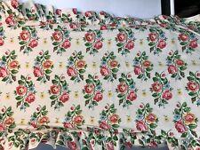 Laura Ashley Pillow Shams King PAIR Ruffle White Floral Rose