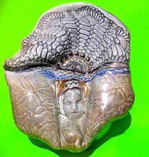Vtg Gray Ceramic Porcelain Eygptian style w Headress Art Deco Dish w Lid UNIQUE!