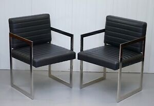 1 OF 2 BRAND NEW EICHHOLTZ BLACK LEATHER & CHROMEO OFFICE CHAIRS