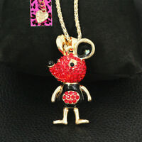Cute Enamel Crystal Mouse Rat Pendant Sweater Chain Betsey Johnson Necklace