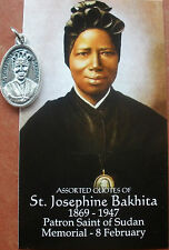 Separated St. Josephine Bakhita Medal & Holy Quotes Card + Slave in Sudan