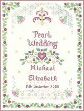Pearl Wedding Sampler - complete cross stitch kit on 14 aida with COLOUR chart