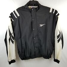 Reebok Vintage Mens XL Black White Full Zip Hip Hop Track Windbreaker Jacket
