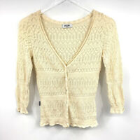 Moschino Jeans Knit Top 6 Button Front Crochet Lace V Neck 3/4 Sleeve Ivory