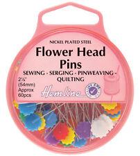 Hemline Nickel Flower/Flat Head Pins 54mm 60pcs - H707