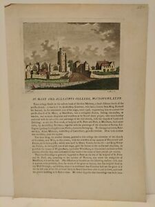 1772 Godfrey: St. Mary and All-Saints College, Maidstone, Kent - original print