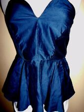 STORY by TANG silk cotton TOP size 1 / 8 blue NEW &tags heart peplum strapless