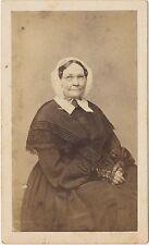 1860s Antique CDV Carte de Visite Photo Victorian Older Woman Superb Dress! 4H