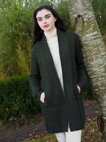 Aran Crafts - Green Celtic Braid Edge To Edge Coat Jacket Cardigan x4901
