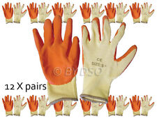 12 x 9 inch Non-slip Fleece and Latex Dipped Builders Gloves Medium