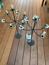 Vintage Wrought Iron Candle Holder Candelabra X 2