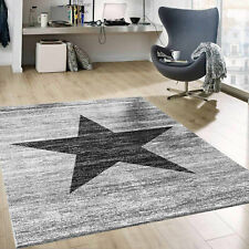 Stern Muster Teppich Meliert in Grau Schwarz Stylish Accessoire