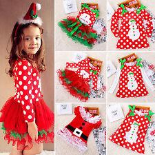 Toddler Baby Girls Kids Xmas Christmas Party Dresses Santa Tutu Dress Age 1-6Yrs