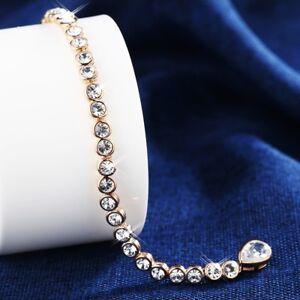 Thick 18K Rose Gold Filled Made With SWAROVSKI Crystal Teardrop Tennis Bracelet