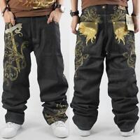 Fashion Mens Casual Pants Loose Skateboard Jeans Hip Hop Denim Baggy
