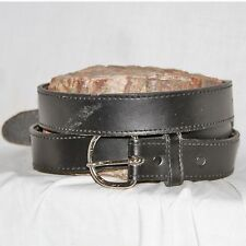 "Vintage Full Grain black Leather Belt sz 48 & 1½"" Wide silver roundsquare buckle"
