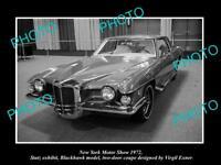 OLD HISTORIC PHOTO OF NEW YORK MOTOR SHOW 1972 STUTZ BLACKHAWK CAR DISPLAY 1