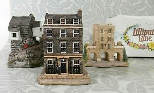 3 LILLIPUT LANE Ornaments Including: Downing St, Fisherman Cottage, York Gateway