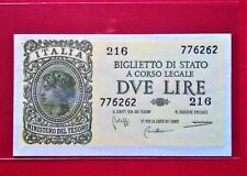 1944 ITALY 2 Lira Old Banknote @ UNC