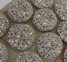 "12 large shiny silver metal rhinestone shank buttons 3 crystal Czech 1.25"" 534"