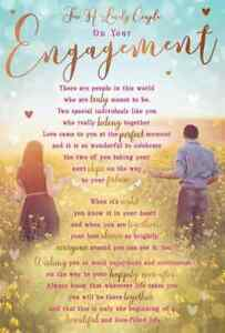 """For a Lovely Couple On Your Engagement. Large Card 9"""" x 6"""""""