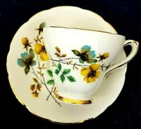Royal Kendall Floral Cup & Saucer Fine Bone China Gold Trim England