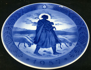 1957 Royal Copenhagen Christmas Plate Blue White Danish The Good Shepherd Xmas