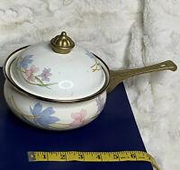 Vintage Lily Cookware Enamel Pot  Pan White Floral Brass Handle Lid Knob