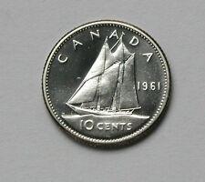 1961 CANADA Elizabeth II Silver Coin 10 Cents BU gem UNC lustre (from mint set)