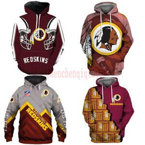 Washington Redskins Hoodie Fan's Hooded Pullover Sweatshirt Casual Jacket Coat