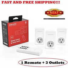 Remote Control Outlet Wireless Light Switch Power Plug By Ankuoo, Wireless Outle