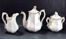 OLD PARIS PORCELAIN, PARIS FRANCE: COFFEE POT, CREAMER & SUGAR WEDDING BAND 1860
