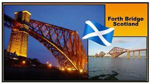 FORTH BRIDGE SCOTLAND - SOUVENIR NOVELTY FRIDGE MAGNET - SIGHTS / FLAG / GIFTS