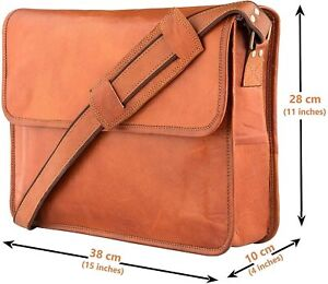 Unisex Vintage Leather Messenger Laptop Satchel SideSling Handmade Briefcase Bag