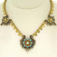 Antique Victorian 14k Yellow Gold Turquoise & Pearl Large 3 Section Necklace