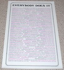 EVERYBODY DOES IT Sex Innuendo Text Poster 1982 AA Graphics Head Shop Humor