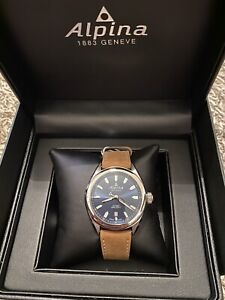 NEW Alpina Quartz Blue Dial Leather Strap Men's Watch AL-240NS4E6 FREE Shipping